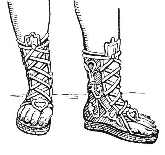 Buskin boots (cothurns) line art drawing.