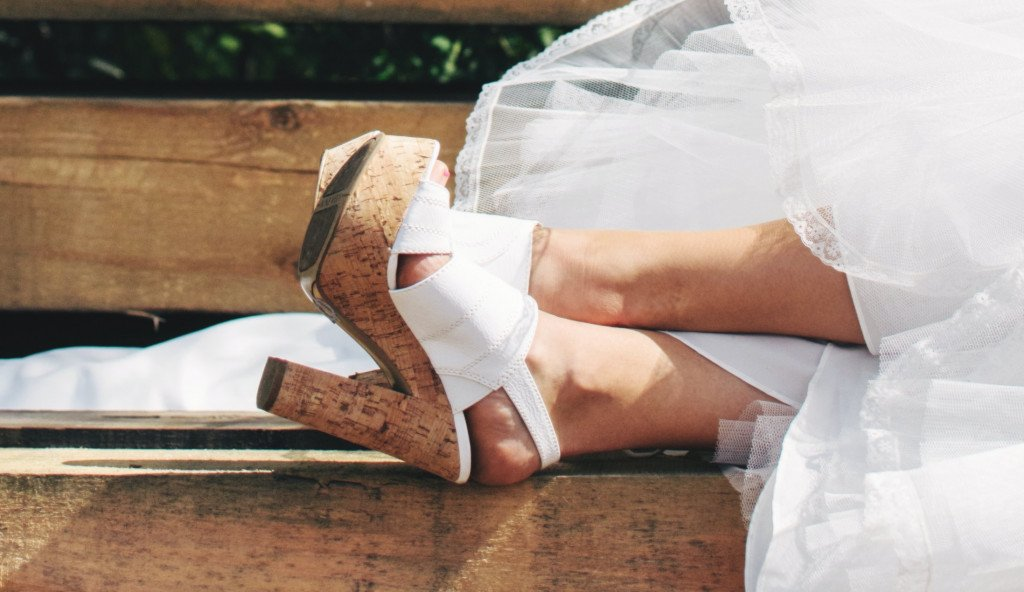 White Cork High Heels