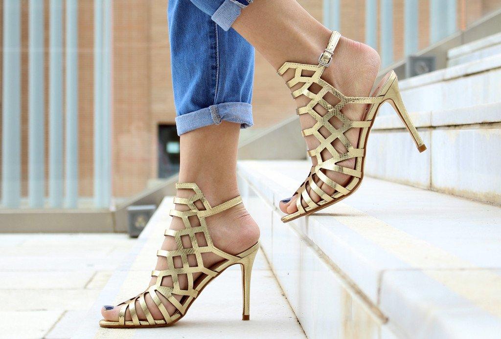 Gold cutout heels