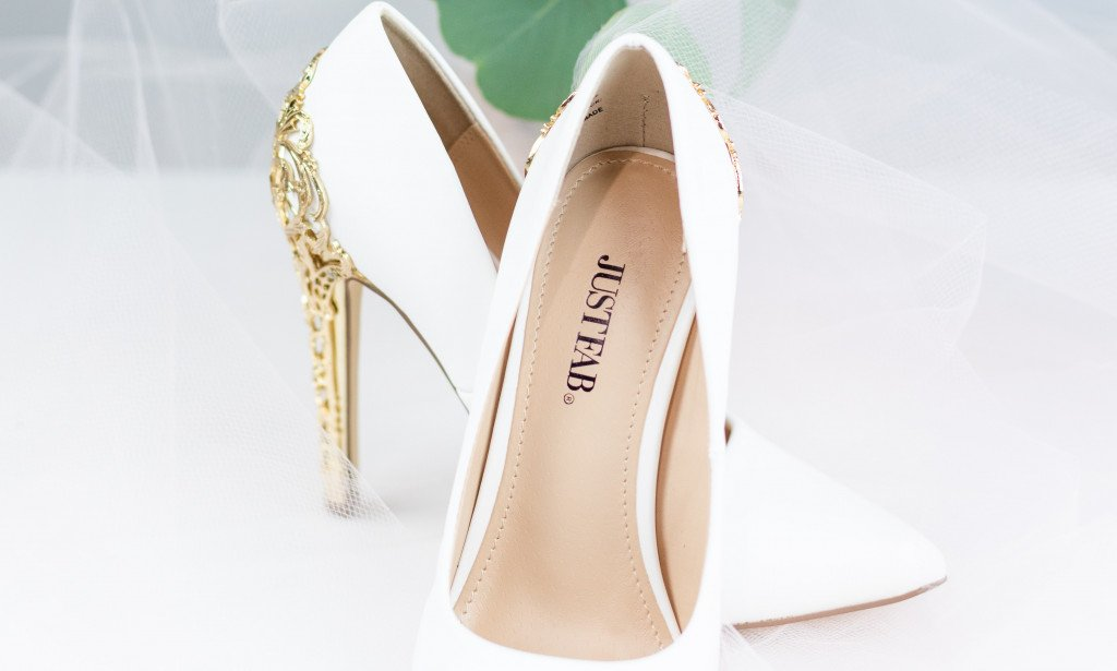White and Gold Decorative Heels