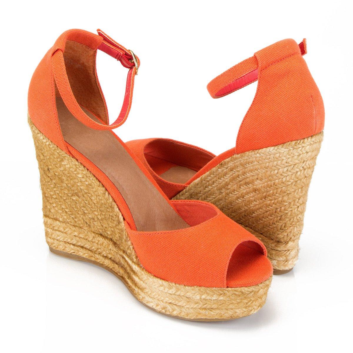 orange espadrille wedge sandals