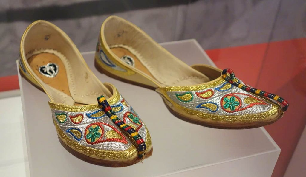 A pair of jutti shoes on display at the Bata Shoe Museum, Toronto, Ontario, Canada