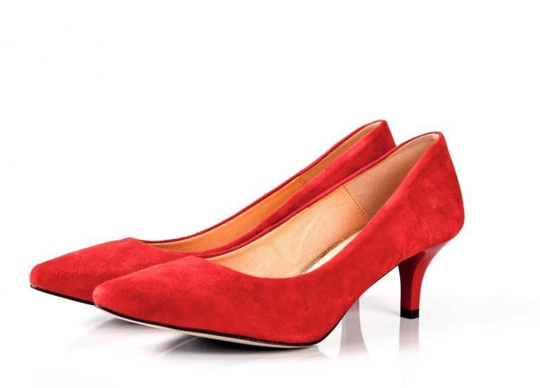 Red coral kitten heel