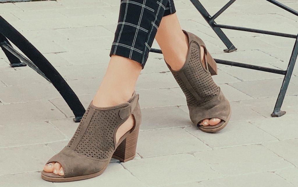 Taupe Peep Toe Heels