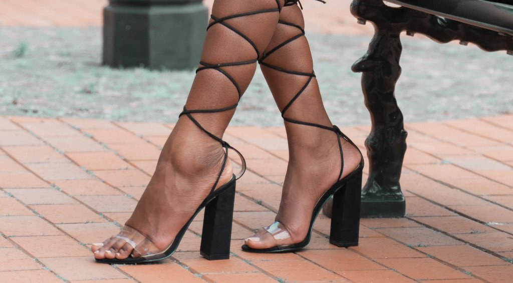 Black square heels with lace-up fasteners